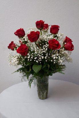 Picture of 12 Tea Roses in Vase