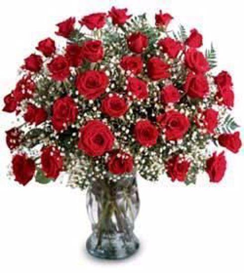 Picture of 36 Tea Roses in Vase